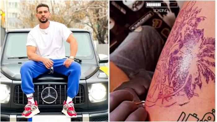 Colaj cu Dorian Popa pe mașină/ tatuajul lui Dorian Popa.