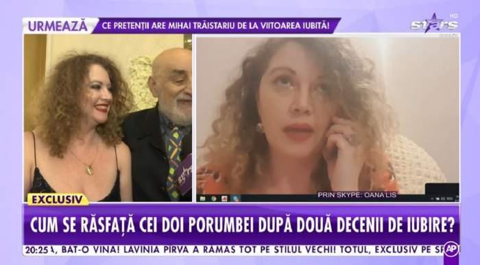 Un colaj cu Oana și Viorel Lis. În prima imagine cei doi dau un interviu pentru Antena Stars și sunt îmbrăcați elegant, în rochie și costum negru, iar în cealaltă Oana Lis vorbește la telefon, prin skype, la showbiz report.