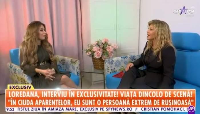 Loredana Groza, în ținută neagră oferă un interviu pentru Antena Stars