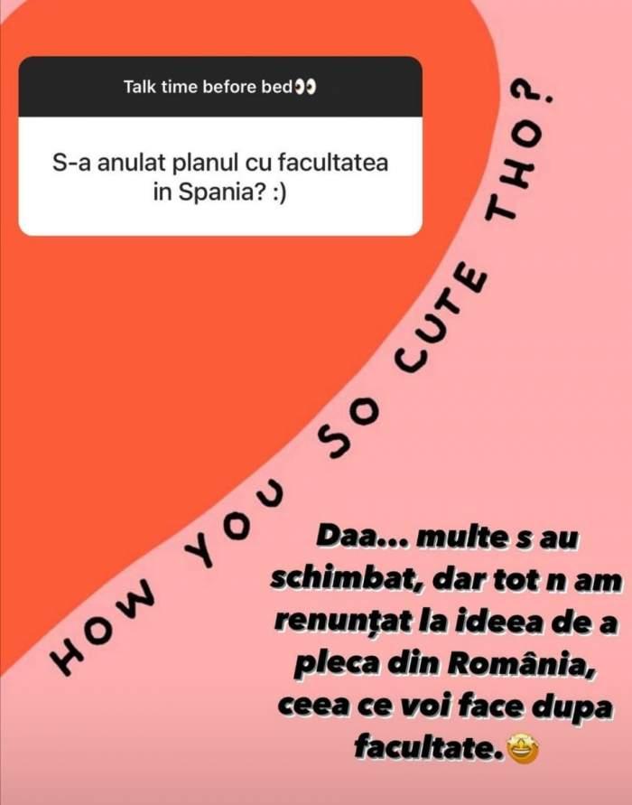 Răspunsul oferit de Carmina, referitor la mutarea sa din România