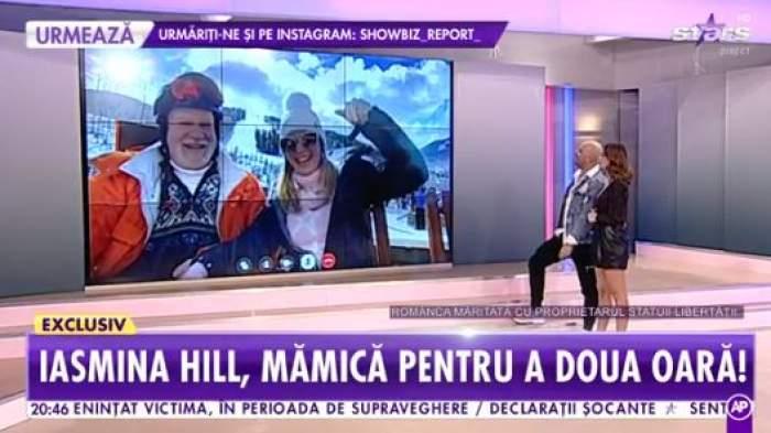 Iasmina Hill și soțul ei, intervenție în emisiune direct de  pe pârtie