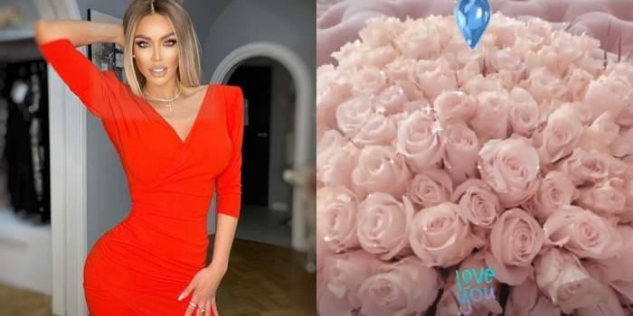 bianca dragusanu si trandafiri, ea are rochie rosie