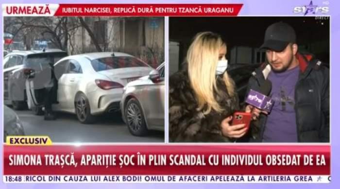Colaj foto cu Simona Trașcă bandajată și bărbatul care o urmărește