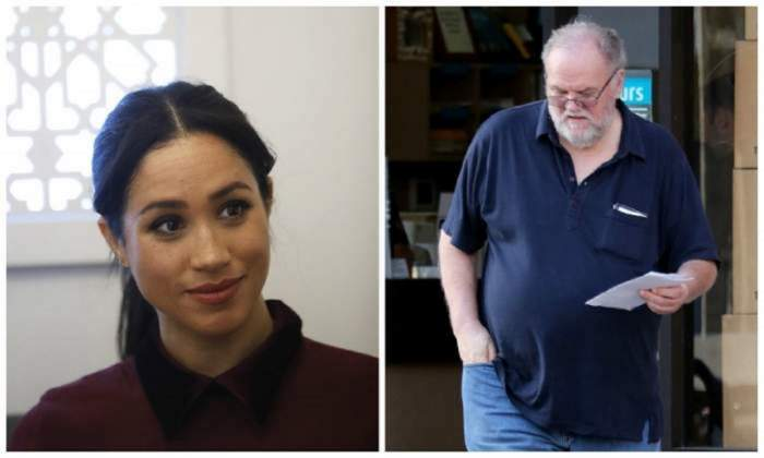 Un colaj cu Meghan Markle și tatăl ei, Thomas. Ea poartă o bluză vișinie, iar el blugi și un tricou albastru.