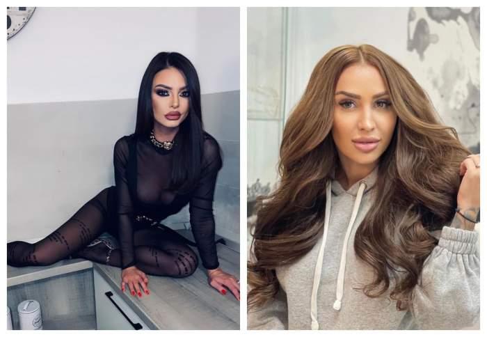 Ana-Maria Mocanu este pe mobila din bucatarie, imbracata cu un costum transparent negru, Denisa Despa poarta un hanorac gri si are parul coafat