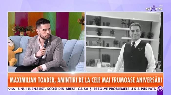 Maximilian Toader se afla pe canapeaua gri de la Star Matinal. Tânărul poartă o cămașă albă și sacou gri. Lângă el este o imagine alb negru cu tatăl lui, Marcel Toader.