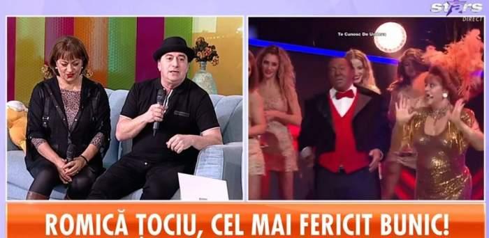 Romică Țociu și Adriana Trandafir se află pe canapeaua gri de la Star Matinal. El poartă pălărie și tricou negru, iar ea o bluză cu animal print și o alta neagră descheiată pe deasupra. În dreapta e o imagine cu ei de la Te cunosc de undeva.
