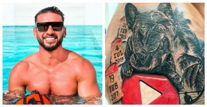 Un colaj cu Dorian Popa și tatuajul său. Artistul se află în piscină și poartă ochelari de soare.
