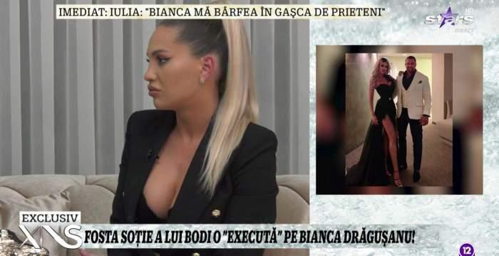 Colaj foto cu Iulia Sălăgean și Bianca Drăgușanu în brațele lui Alex Bodi