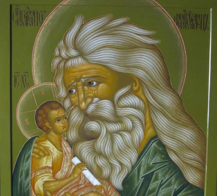 O icoană cu Sfântul Simeon. Acesta poartă veșminte verzi și ține Pruncul Sfânt în brațe.