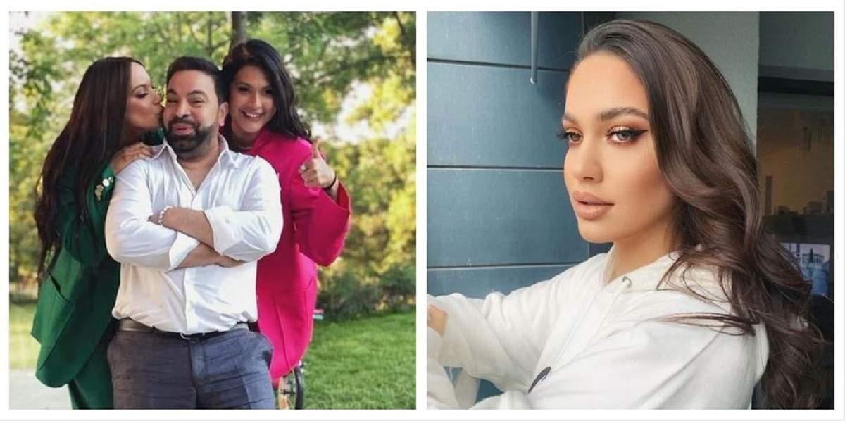 Un colaj cu Florin Salam, fiica și partenera lui. În prima poză cântărețul este sărutat pe obraz de Betty, iar în a doua Betty poartă un hanorac alb.
