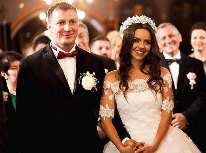 Marian Godină si sotia mire si mireasa in ziua nuntii