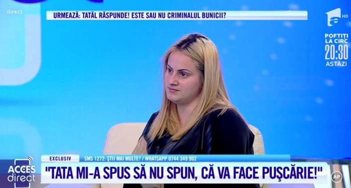 """Acces Direct. Bunica i-ar fi murit în brațe din cauza tatălui! Denisa își acuză părintele că a ucis-o pe femeie: """"Mi-a zis să nu spun, că face pușcărie"""" / VIDEO"""