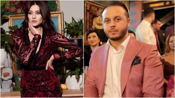 Colaj cu Claudia Pătrășcanu în rochie roșie cu negru/ Gabi Bădălău cu sacou roz și cămașă albă.
