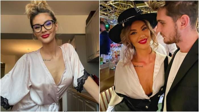 Ramona Olaru în pijamale/ Ramona Olaru și Cuza în perioada în care formau un cuplu.