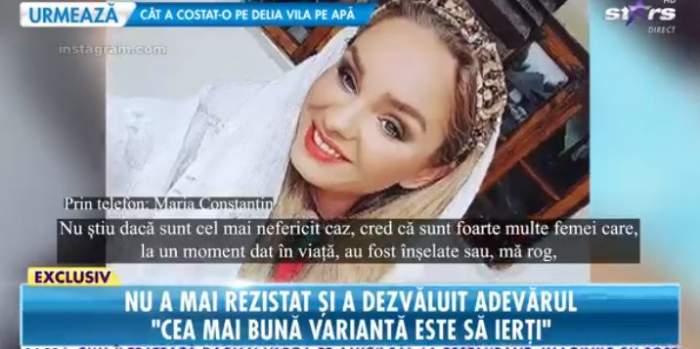 Maria Constantin, zâmbitoare, în ținută albă, oferă un interviu