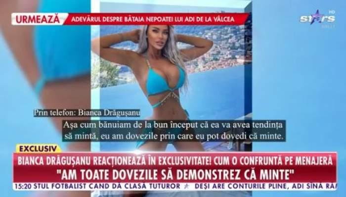 Bianca Drăgușanu,în costum de baie, interviu la Antena Stars