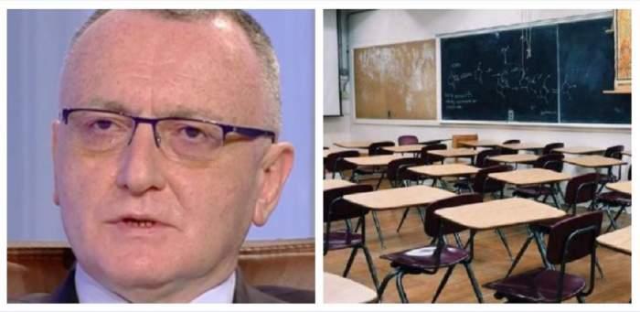 Un colaj cu Ministrul Educației și o fotografie simbol cu o sală de clasă.