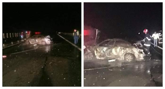 Accident grav în Arad, noaptea trecută! Un bărbat și un copil de 3 ani au murit, după ce o mașină a luat foc / FOTO