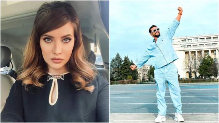 Colaj cu Iulia Albu în negru/ Dorian Popa în trening albastru.