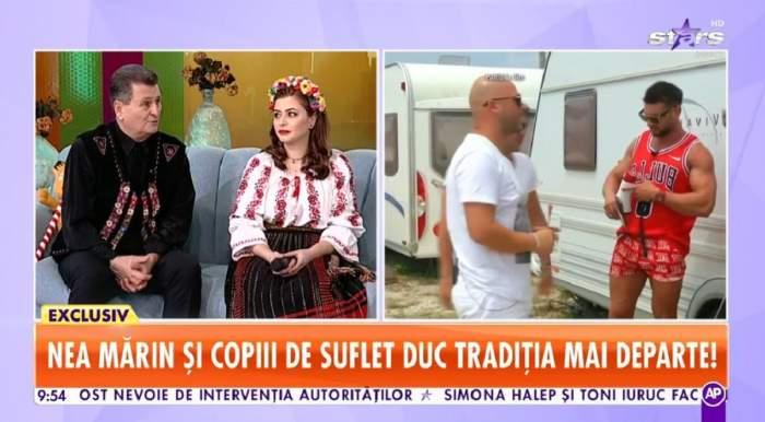 Nea Marin și fiica lui, Larisa, stau pe canapeaua bleu de la Star Matinal. Ea poartă o ie albă și o fustă neagră cu model roșu, iar el un costum negru popular, cu vestă colorată.
