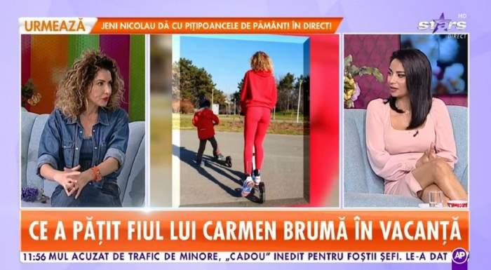 """Carmen Brumă se află pe canapeaua bleu de la """"Star Matinal"""". Vedeta e îmbrăcată în denim din cap până în picioare, cu blugi, jachetă și top pe dedesubt."""