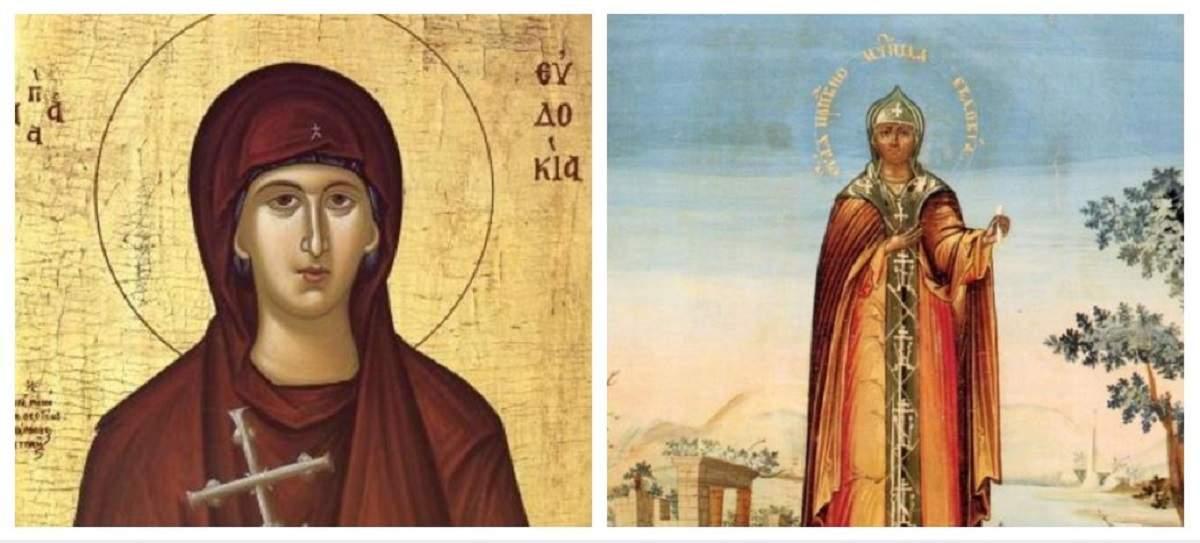 Un colaj cu Sfânta Evdochia. În prima icoană poartă veșminte maro, iar în cealaltă haine aurii.