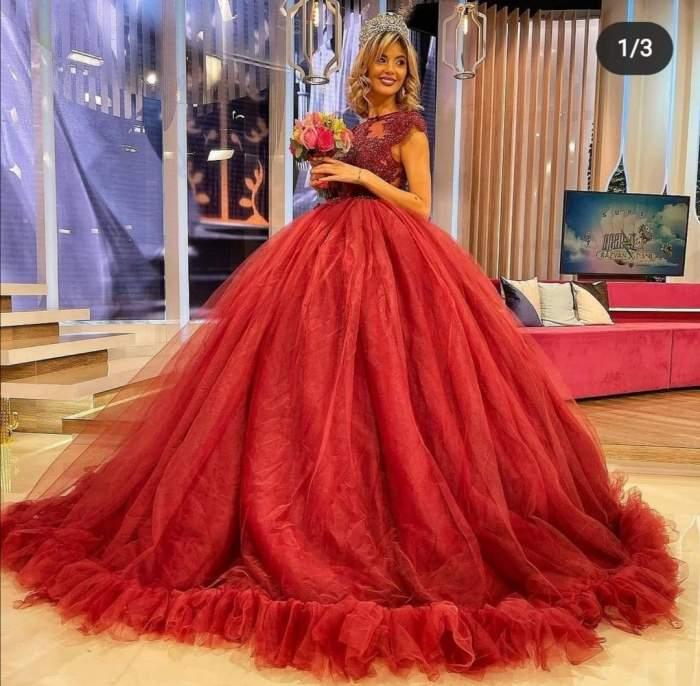 Ramona Olaru, în rochie roșie de prințesă