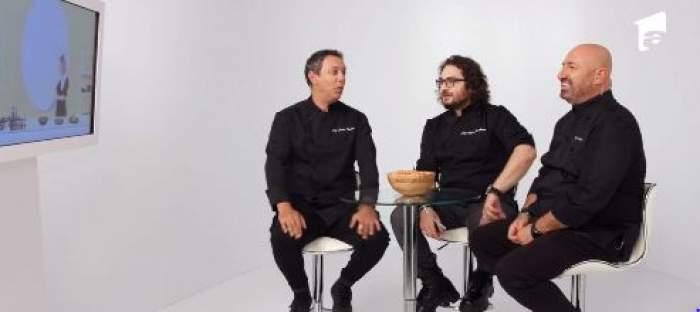Cei trei chefi în tunici negre, gesticulând