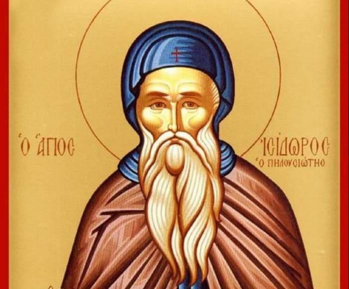 O icoană cu Sfântul Isidor Pelusiotul.
