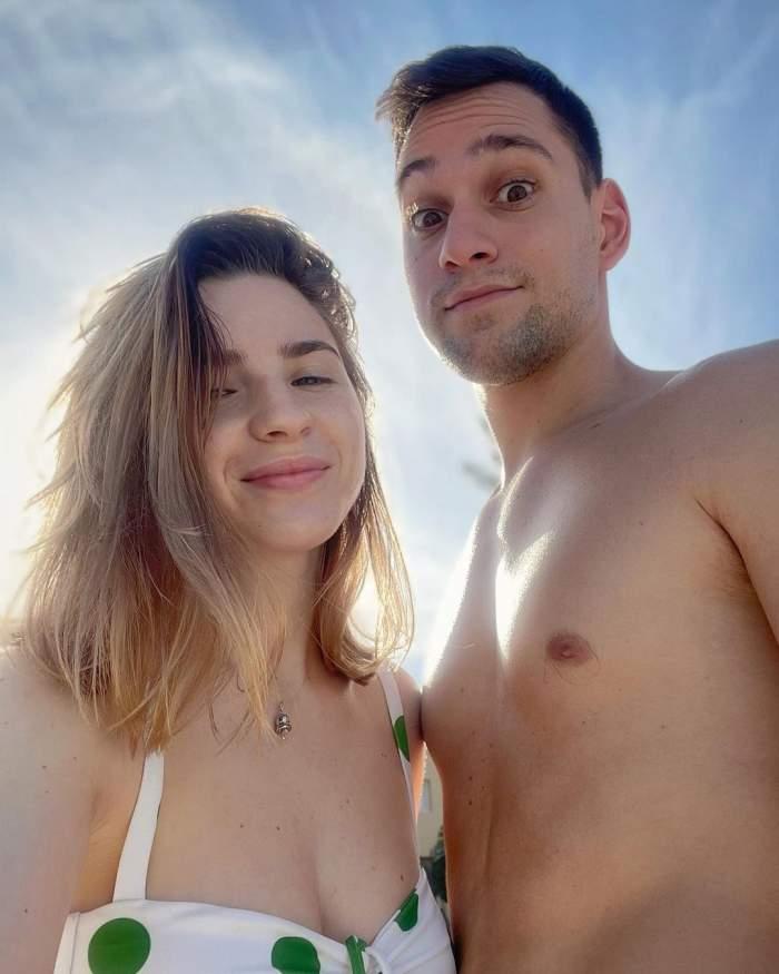 Cristina Ciobănașu și Vlad Gherman în perioada în care formau un cuplu, în vacanță la mare.