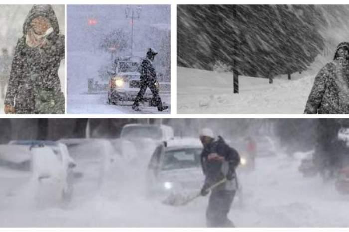 Coloj foto cu vreme rea, oameni mergând prin viscol și zăpadă