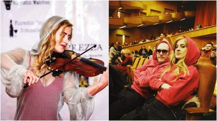 Colaj cu Alice Badea în timp ce cântă/ What's Up și Alice Badea la Sala Palatului.