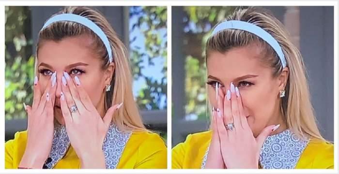 Un colaj cu Lora când plânge. Artista își șterge lacrimile cu mâinile, poartă o diademă albă și o bluză galbenă.
