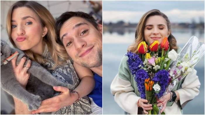 Colaj cu Cristina Ciobănașu și Vlad Gherman în perioada în care formau un cuplu/ Cristina Ciobănașu cu un buchet de flori în brațe.