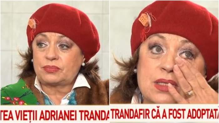 Adriana Trandafir în timp ce plânge.