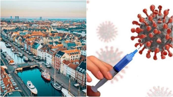 Colaj cu Danemarca văzută de sus/ seringă, virus.