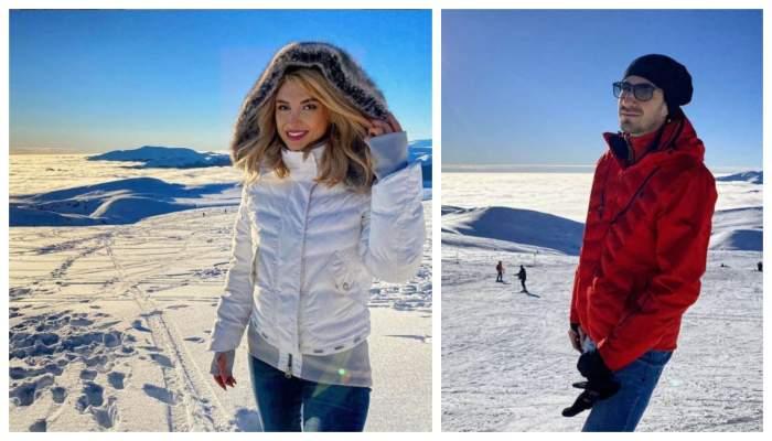 Andreea Balan si Tiberiu Argint sunt la munte, s-au fotografiat in acelasi loc
