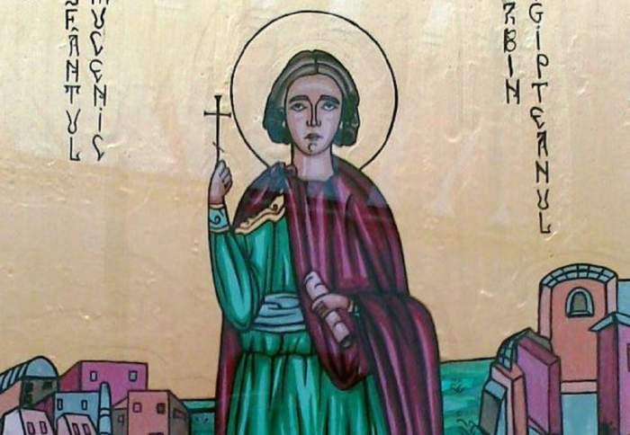 O icoană cu Sfântul Sabin egipteanul. Acesta poartă veșminte verzi și roșii și ține în mână o cruce.