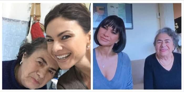 Un colaj cu Ramona Bădescu și mama ei. În prima poză își fac un selfie, iar în a doua stau pe o canapea și zâmbesc.
