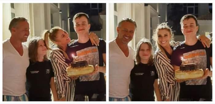 Un colaj cu Anamaria Prodan, soțul ei, fiul lor cel mic și băiatul cel mare al lui Laurențiu Reghecampf. Luca poartă un tricou negru și ține un tort aniversar în mână.