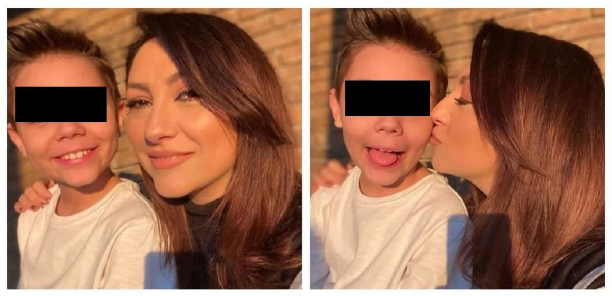 Un colaj cu Andra și fiul ei. David poartă un tricou alb, iar artista îl sărută pe obraz.