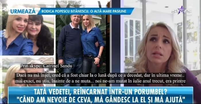 Catrinel Sandu dă un interviu la Antena Stars despre tatăl ei mort. În stânga sunt mai multe imagini cu mama și tatăl ei.