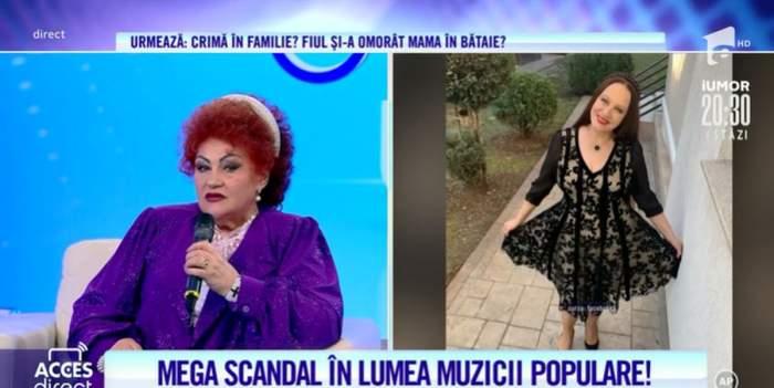 Elena Merișoreanu imbracata in mov vorbind la acces direct despre conflictul cu maria dragomiroiu