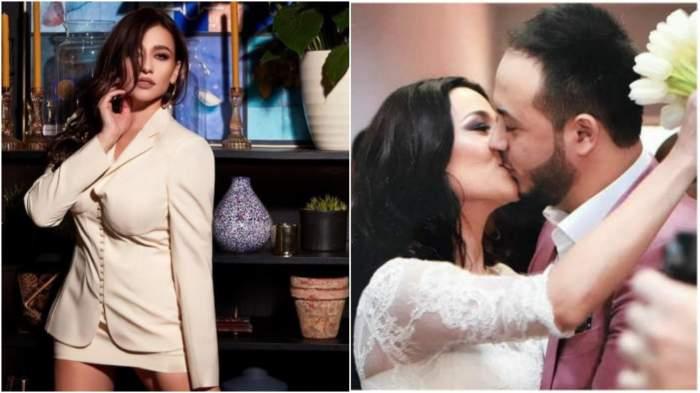 Claudia Pătrășcanu în rochie albă/ Claudia Pătrășcanu și Gabi Bădălău în perioada în care formau un cuplu, în timp ce se sărutau.