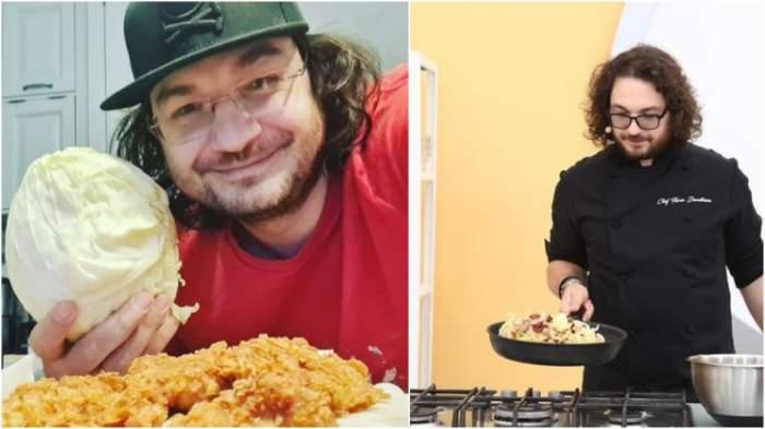 Colaj cu Florin Dumitrescu cu o varză în mână/ Florin Dumitrescu în bucătăria Chefi la cuțite.
