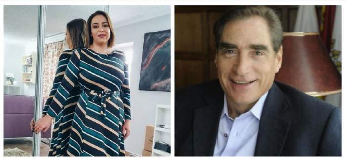 Un colaj cu Oana și Petre Roman. Ea se află în fața unui dressing cu oglindă și stă cu spatele lipit de el, purtând o rochie cu dungi orizontale în nuanțe de alb, crem, negru și turcoaz, iar el zâmbește și poartă cămașă albă și sacou.