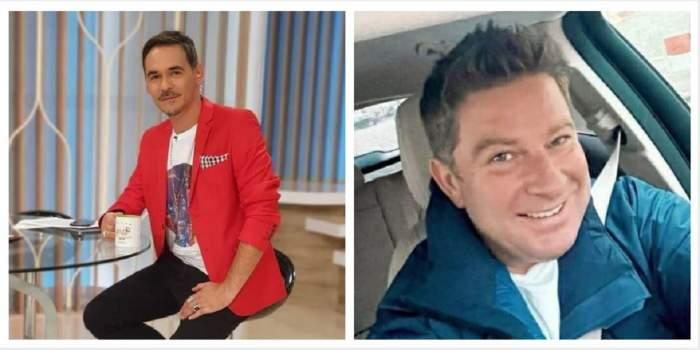 Un colaj cu Răzvan Simion și Pavel Bartoș. Răzvan stă pe scaun, poartă un tricou alb, sacou roșu și pantaloni negri, iar Pavel își face un selfie în mașină și poartă o geacă albastră.