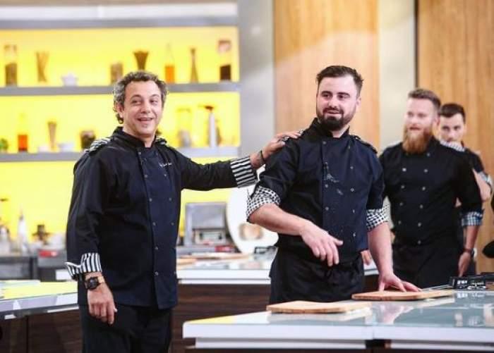 Cătălin Rizea alături de Sorin Bontea, în bucătăria Chefi la cuțite.