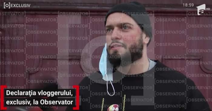 """Primele declarații ale vloggerului BRomania, după ce a fost prins drogat la volan. """"Las organele de poliție să-și facă treaba"""" / VIDEO"""